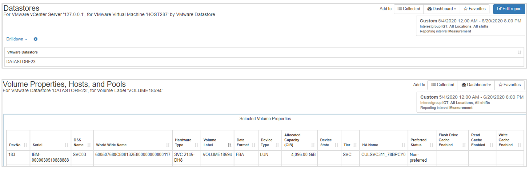 Datastore, Volume, Host, and Storage Pool Properties
