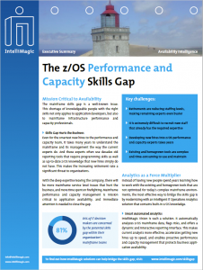 Screenshot of the IntelliMagic Executive Summary about the z/OS Performance and Capacity Skills Gap