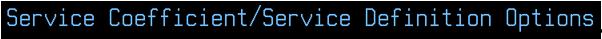 Service Coefficient Option - 1